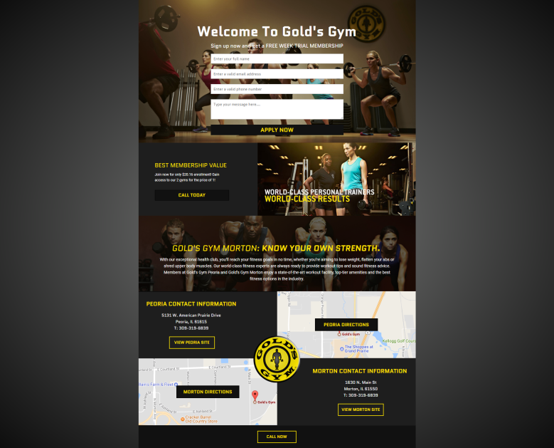 golds gym landing page